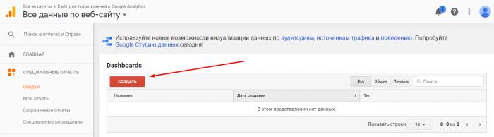 настройка моих отчетов google analytics